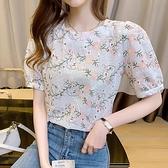 高端蕾絲上衣女春法式設計感小眾小衫高檔洋氣碎花短袖雪紡衫H433快時尚