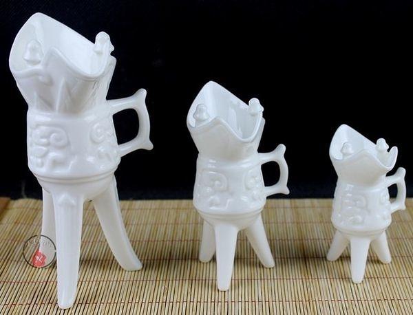 高檔仿古白瓷  陶瓷古代酒杯 3個/組