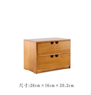 日式木質首飾盒箱化妝品抽屜桌面收納盒辦公桌收納