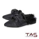 TAS細緻布面大蝴蝶結拼接貂毛穆勒鞋-時髦黑