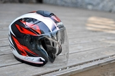 M2R安全帽,CF1,碳纖維版,碳纖#1/白紅