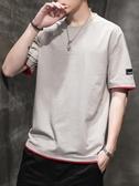 男士短袖t恤夏季新款韓版潮流五分袖潮牌港風體恤寬鬆衣服 韓國時尚週