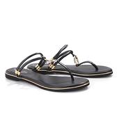 【南紡購物中心】Keeley Ann 夏季定番 MIT兩穿金屬飾釦涼拖鞋.黑色