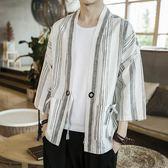 限時8折秒殺風衣中國風夏季棉麻漢服外套男士寬鬆復古道袍日式和服開衫男夏裝風衣