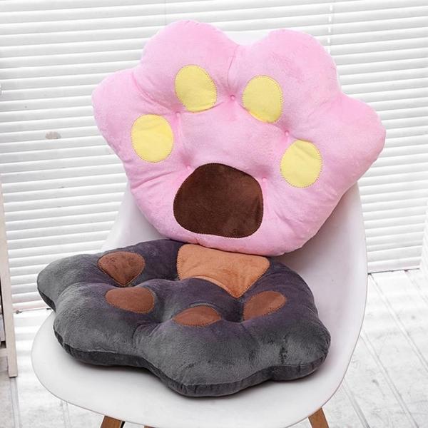 卡通熊掌坐墊靠背熊爪子抱枕辦公室椅子座墊冬季毛絨加厚坐墊椅墊YYP 琉璃美衣