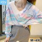 【V2974】shiny藍格子-洋氣少女.繽紛彩色格子翻領長袖襯衫上衣