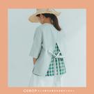 棉麻衫   簡約造型背綁帶V領棉麻衫.罩衫   二色-小C館日系