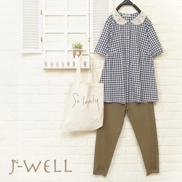 J-WELL 娃娃格子上衣長褲二件組(組合679 8J1409藍+8J1391深卡M/L)