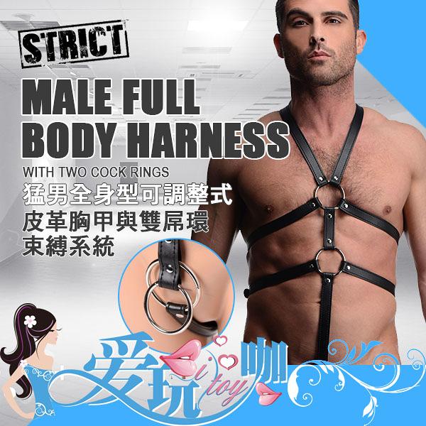 美國 XR brands STRICT 魅力嚴選 猛男全身型可調整式 皮革胸甲與雙屌環束縛系統 MALE FULLBODY HARNESS