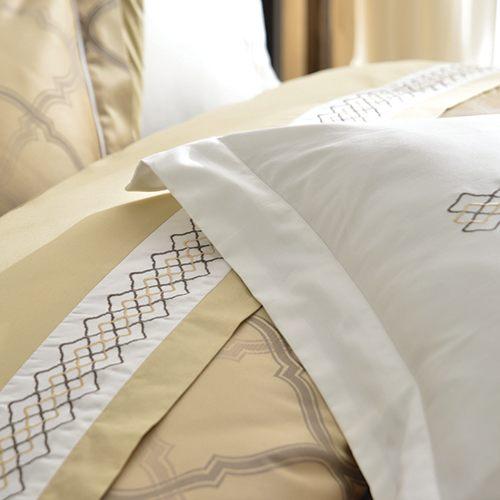 床罩組/雙人-100%純棉-中式全套-古典金-獨家花色-台灣製造-[湖光水影59190全套-古典金]-(好傢在)