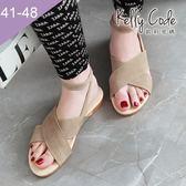 大尺碼女鞋-凱莉密碼-時尚潮流款瑪莉珍交叉款平底羅馬涼鞋1cm(41-48)【XL3-5】米白