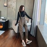 秋吊帶褲女套裝2020年韓版寬鬆高腰系帶洋氣減齡小個子兩件套潮 【元旦狂歡購】