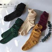【QV2156】魔衣子-百搭學院堆堆中筒襪