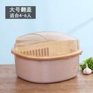 碗筷收納箱  廚房家用帶蓋碗盆碗碟置物架塑膠碗櫃裝碗筷收納盒放碗箱瀝水碗架   6色