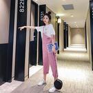 休閒背帶褲女兩件套時尚套裝減齡很仙的網紅洋氣2019新款 玫瑰