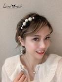 髮箍 超仙珍珠發卡發箍女百搭優雅發帶韓國網紅外出頭飾氣質后掛式頭箍
