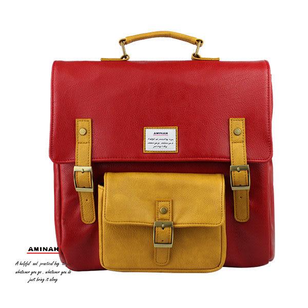 深紅正點皮革後背包 AMINAH~【am-0275】
