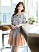 單一優惠價[H2O]腰圍條紋布綁帶調節大波浪膝上褲裙 - 藍/粉卡色 #0678002