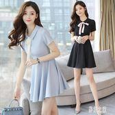 OL洋裝韓版夏裝服職業套裝中大尺碼短袖連身裙工作服運動網球裙單件PH484【彩虹之家】