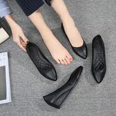 黑色工作鞋女內增高豆豆鞋軟底防滑尖頭坡跟單鞋小皮鞋職業上班鞋