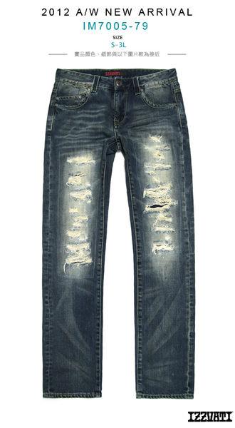 IZZVATI-防潑水重手工直筒褲-深藍