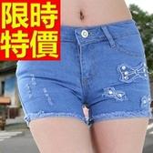 牛仔短褲-高腰獨特單寧女休閒褲57d47【巴黎精品】
