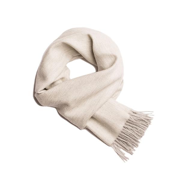 Alpaka Scarf 100% 30x200cm 極致魚骨紋系列 素面單色 羊駝毛 超輕量 圍巾 - 2019 秋冬仕樣(極圈灰白)