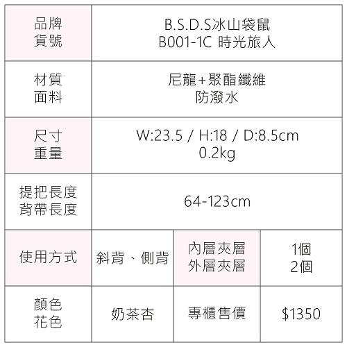 B.S.D.S冰山袋鼠 - 時光旅人 - 知性輕旅防潑水側背小包 - 奶茶杏【B001-1C】
