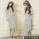 【天母嚴選】抓摺綁結側開衩條紋棉質連身洋裝(共二色)