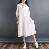 大尺碼洋裝 民族風仙女裙刺繡七分袖 大尺碼連身裙中國風 降價兩天