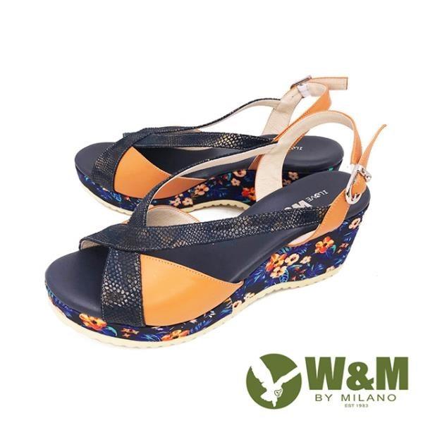 【南紡購物中心】W&M(女) 繁花楔型厚底彈力涼鞋 女鞋 -藍(另有黃)
