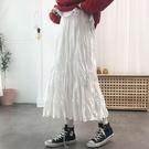 半身裙中長款褶皺A字白色裙子女秋冬裙子新款年高腰寬鬆緊腰