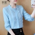 (促銷全場九折)春裝新款韓版立領棉麻襯衫女長袖蕾絲打底衫洋氣小衫百搭上衣