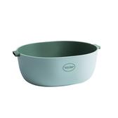 簡約雙層 瀝水籃/洗菜籃-湖水綠-L