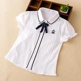 男童襯衫-女童白襯衫學院風兒童短袖上衣夏裝女洋氣中大童襯衣童裝2021韓版