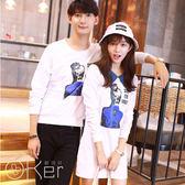 中大尺碼 情侶韓風長版連身裙 長袖上衣 O-Ker LL1562-C