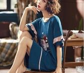 南極人睡裙女夏季純棉短袖韓版學生甜美可愛清新寬鬆大碼薄款睡衣 滿天星
