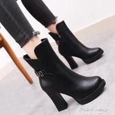 靴子新款韓版百搭黑色皮面加絨棉靴粗跟高跟女士中筒靴·蒂小屋