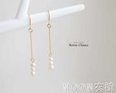 14k包金珍珠耳墜清晰女簡約耳飾耳環女氣質韓國個性百搭耳釘    MOON衣櫥
