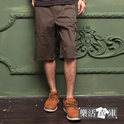 【P1125】原宿輕薄透氣多口袋休閒七分短褲(軍綠)● 樂活衣庫