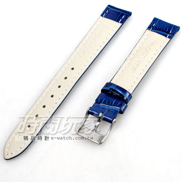 16mm錶帶 真皮錶帶 藍色 錶帶 DW寶藍竹16