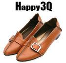 淺口純色扣帶休閒尖頭平底懶人鞋低跟鞋-黑/棕34-43【AAA0198】預購