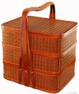 三層竹編送餐籃外賣手提籃禮品籃食盒酒店送餐籃拜拜用竹編野餐籃 樂活生活館