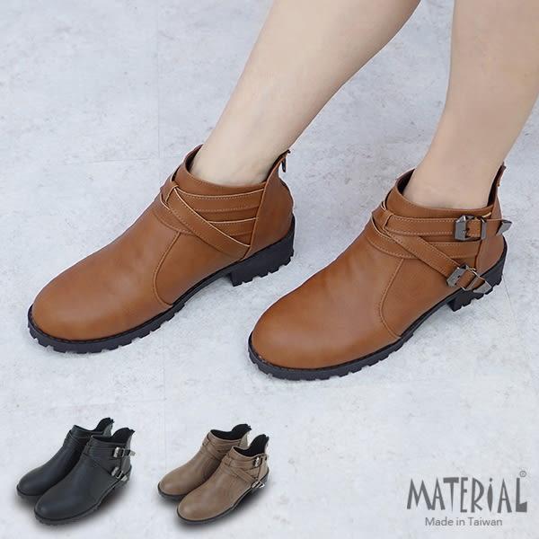 短靴 交叉側雙扣質感短靴 T1229