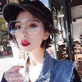 原宿風透明黃色女潮太陽鏡小臉ins網紅方形墨鏡紅色眼鏡〖雙十一預熱瘋狂購〗