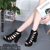 高跟凉鞋 2021夏季鞋女涼鞋高跟粗跟露趾性感黑色高跟鞋厚底防水臺羅馬涼鞋