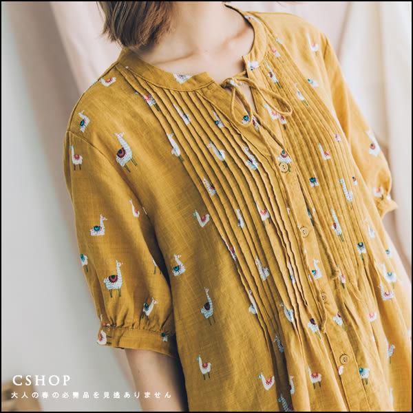 長版衫  可愛手繪羊駝風琴摺棉麻洋裝   三色-小C館日系