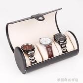 檀韻致遠PU皮革3位圓筒手錶盒高檔珠寶首飾手錶收納展示包裝盒子 夢露