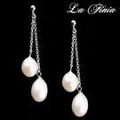 【La Finia】Angel Tear系列-天然多層次純白珍珠耳環