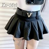 克妹Ke Mei ~AT68159 ~JP 採購空運 V 字母皮革腰帶百摺褲裙